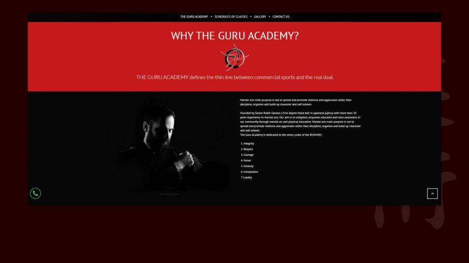 The Guru Academy - Home page dark section